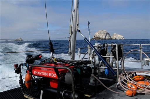 In this Friday, Sept. 12, 2014 photo provided by the National Oceanic and Atmospheric Administration, an undersea robot is shown on the deck of the NOAA research vessel Fulmar near the Farallon Islands, 30 miles off the coast from San Francisco.