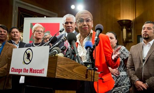 District of Columbia Del. Eleanor Holmes Norton, joins native Americans and other lawmakers and civil rights leaders during a news conference on Capitol Hill in Washington, Tuesday, Sept. 16, 2014.