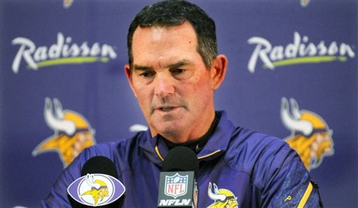 Minneosta Vikings head coach Mike Zimmer speaks at a news conference at the team's training facility in Eden Prairie Sept. 15, 2014. (AP Photo/The St. Paul Pioneer Press, Scott Takushi)