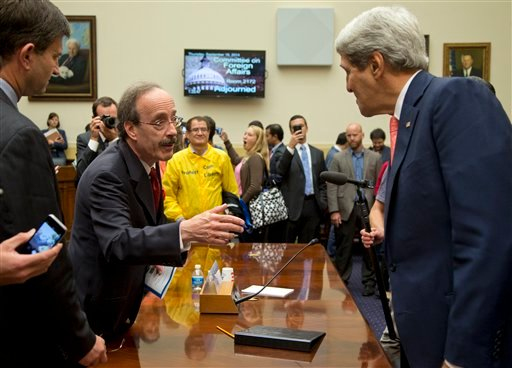 Secretary of State John Kerry, right, speaks with House Foreign Affairs Committee ranking member Rep. Eliot Engel, D-N.Y., on Capitol Hill in Washington, Thursday, Sept. 18, 2014, after a House Foreign Affairs Committee hearing. (AP)