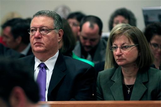 In this Monday, May 21, 2012 file photograph, Tyler Clementi's parents Joseph Clementi, left, and Jane Clementi look on during a sentencing hearing for Dharun Ravi, in New Brunswick, N.J.