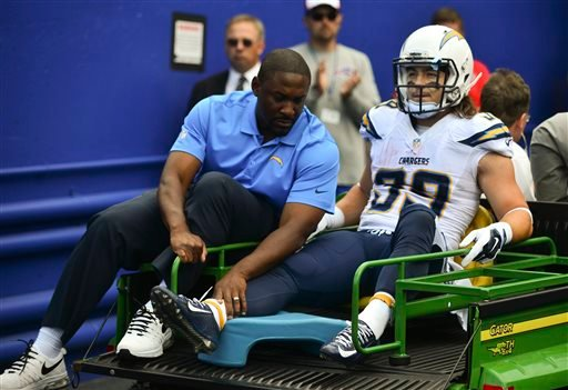 San Diego Chargers running back Danny Woodhead (39) is carted off the field after being injured on a play during the first half of an NFL football game against the Buffalo Bills, Sunday, Sept. 21, 2014, in Orchard Park, N.Y. (AP Photo/Gary Wiepert)