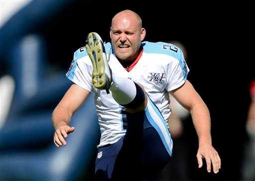 In this Sept. 22, 2013 file photo, then Tennessee Titans kicker Rob Bironas warms up before an NFL football game between the Titans and the San Diego Chargers in Nashville, Tenn.