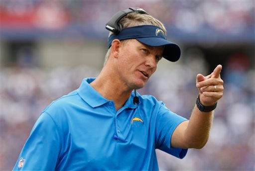 San Diego Chargers head coach Mike McCoy gestures to one of his players on the sideline during the first half of an NFL football game against the Buffalo Bills, Sunday, Sept. 21, 2014, in Orchard Park, N.Y. (AP Photo/Bill Wippert)