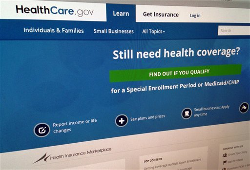 This Sept. 15, 2014, photo shows part of the HealthCare,gov Website in Washington.