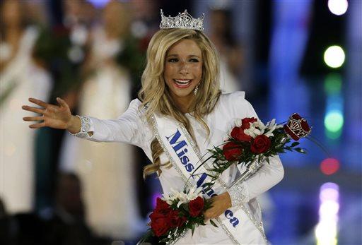 FILE - In this Sept. 14, 2014 file photo, Kira Kazantsev walks the runway after she was named Miss America 2015 in Atlantic City, N.J. (AP)