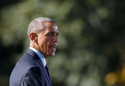 President Barack Obama speaks about the participation of five Arab nations in airstrikes against militants in Syria., Tuesday, Sept. 23, 2014, on the South Lawn the White House, in Washington, before heading to the United Nations. (AP)