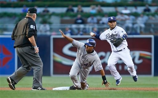 Rockies' Rafael Ynoa gives umpire Bob Davidson the safe sign as Padres shortstop Alexi Amarista prepares to relay to first to complete a double play in the first inning of a game Sept. 24, 2014, in San Diego. (AP Photo/Lenny Ignelzi)