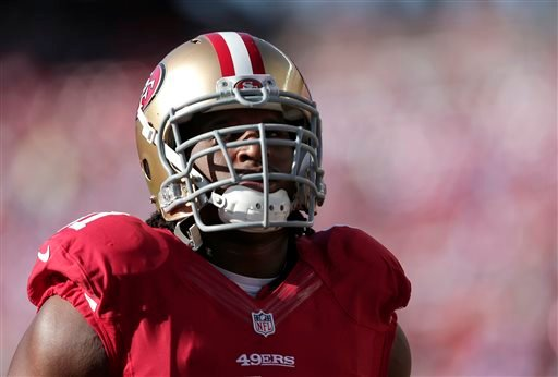 San Francisco 49ers defensive tackle Ray McDonald warms up before an NFL football game against the Chicago Bears in Santa Clara, Calif., Sunday, Sept. 14, 2014. (AP Photo/Marcio Jose Sanchez)