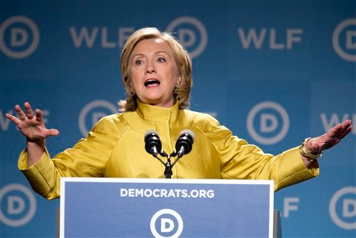 This Sept. 19, 2014 file photo shows former Secretary of State Hillary Rodham Clinton, speaking at the Democratic National Committee's Women's Leadership Forum in Washington.
