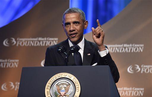 President Barack Obama speaks at the Congressional Black Caucus Foundation's 44th Annual Legislative Conference Phoenix Awards Dinner in Washington, Saturday, Sept. 27, 2014.