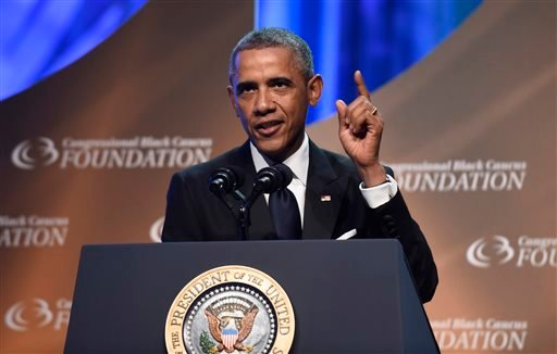 President Barack Obama speaks at the Congressional Black Caucus Foundation's 44th Annual Legislative Conference Phoenix Awards Dinner in Washington, Saturday, Sept. 27, 2014.