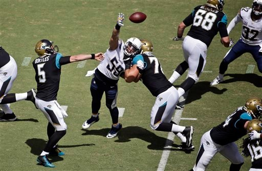 Jaguars quarterback Blake Bortles (5) gets a pass over the outstretched arm of Chargers inside linebacker Andrew Gachkar (59) during the first quarter of a NFL football game Sept. 28, 2014, in San Diego. (AP Photo/Chris Carlson)