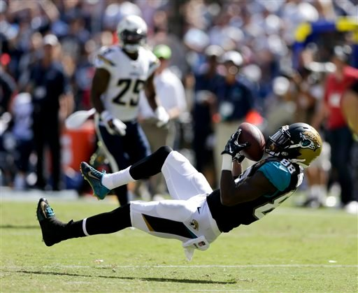 Jacksonville Jaguars wide receiver Allen Hurns hauls in a 45-yard past against the San Diego Chargers during the first half an NFL football game Sunday, Sept. 28, 2014, in San Diego. (AP Photo/Gregory Bull)