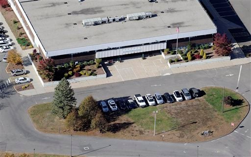 Oct. 28, 2013 aerial photo: Sandy Hook Elementary School, relocated to the former Chaulk Hill School building in Conn., after the original building in neighboring Newtown was razed following a Dec. 14, 2012 shooting rampage. (AP Photo/Jessica Hill)