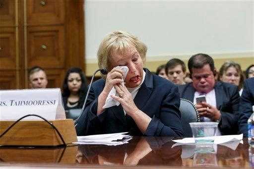 Jill Tahmooressi, mother of Marine Sgt. Andrew Tahmooressi of Weston, Fla. weeps after reading his letters from confinement and as others recount his heroism in Afghanistan, during a House Foreign Affairs subcommittee hearing on Capitol Hill. (AP)
