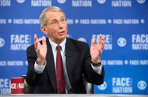 "In this photo provided by CBS News, the National Institute of Health's Dr. Anthony Fauci, the nation's top infectious disease expert, speaks on CBS's ""Face the Nation"" in Washington."