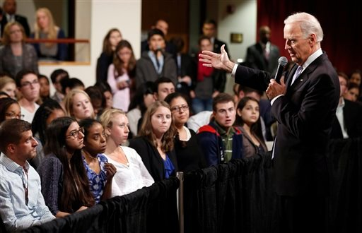 Oct. 2, 2014, file photo: Vice President Joe Biden answers questions from students at Harvard University's Kennedy School of Government in Cambridge, Mass. (AP Photo/Winslow Townson, File)