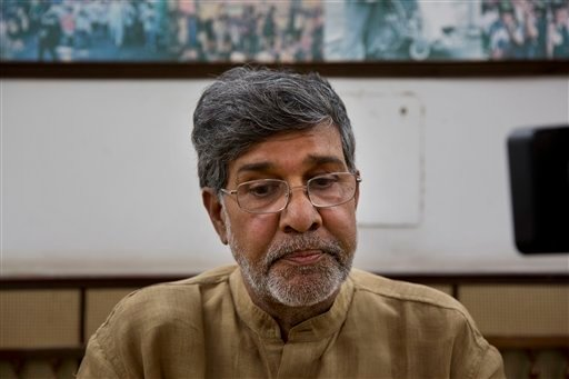 Indian children's rights activist Kailash Satyarthi takes a moment as he addresses the media at his office in New Delhi, India, Friday, Oct. 10, 2014.