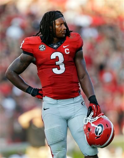 In this Sept. 7, 2013, file photo, Georgia running back Todd Gurley is shown in an NCAA college football game against South Carolina in Athens, Ga.