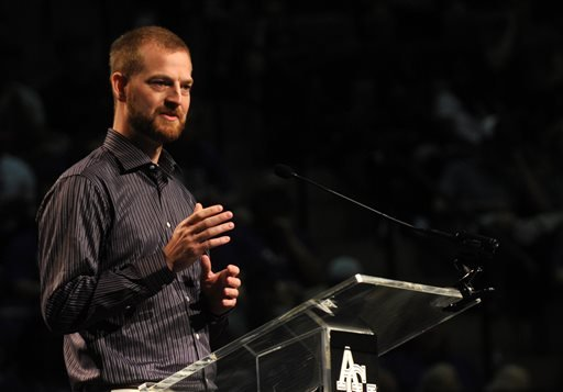 Dr. Kent Brantly, the first American flown back to the U.S. for treatment of Ebola, speaks during chapel at Abilene Christian University, Friday, Oct. 10, 2014, in Abilene, Texas. (AP Photo/The Abilene Reporter-News, Nellie Doneva)
