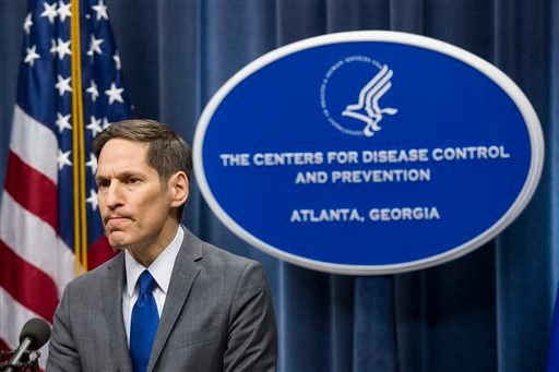 Centers for Disease Control and Prevention Director Dr. Tom Frieden speaks at a news conference, Sunday Oct. 12, 2014, in Atlanta.