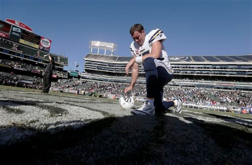San Diego Chargers quarterback Philip Rivers (17) kneels on the field after the Chargers defeated the Oakland Raiders 31-28 in an NFL football game in Oakland, Calif., Sunday, Oct. 12, 2014.