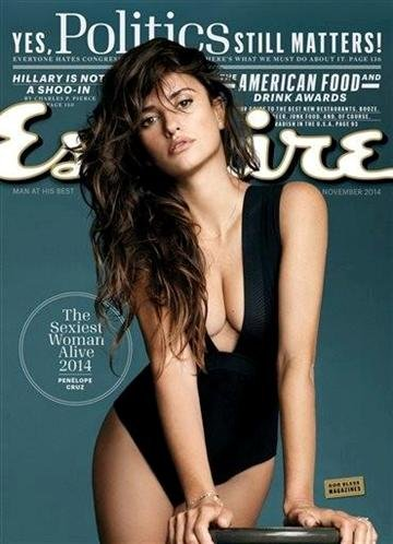 "This image released by Esquire shows actress Penelope Cruz on the November 2014 cover of ""Esquire"" magazine."