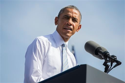 In this Oct. 10, 2014, file photo, President Barack Obama speaks at Frank G. Bonelli Regional Park in San Dimas, Calif.