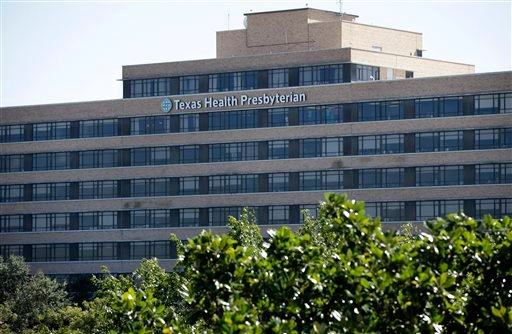 The main building of the Texas Health Presbyterian Hospital Dallas complex is shown, Thursday, Oct. 16, 2014, in Dallas. (AP)