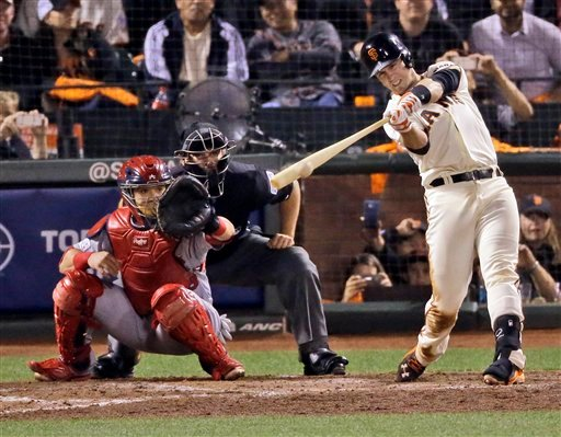 San Francisco Giants' Buster Posey hits an RBI single against the St. Louis Cardinals during the sixth inning of Game 4 of the National League baseball championship series Wednesday, Oct. 15, 2014, in San Francisco. (AP Photo/Jeff Chiu)