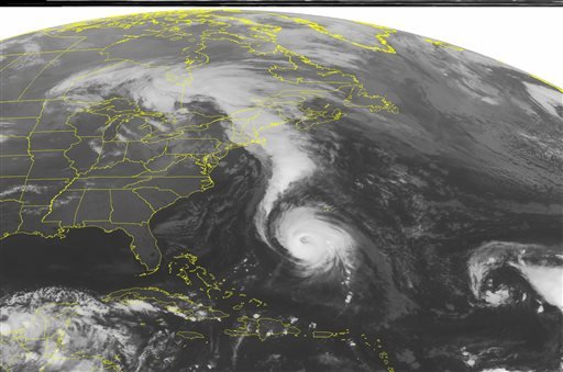 This NOAA satellite image taken Friday, Oct. 17, 2014 at 1:45 a.m. EDT shows Hurricane Gonzalo just south of Bermuda. (AP)