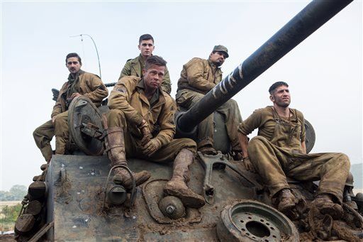 """This photo released by Sony Pictures Entertainment shows, from left, Shia LaBeouf as Boyd """"Bible"""" Swan, Logan Lerman as Norman, Brad Pitt as Sgt. Don """"Wardaddy"""" Collier, Michael Pena as Trini """"Gordo"""" Garcia, and Jon Bernthal as Grady """"Coon-Ass"""" Travis."""