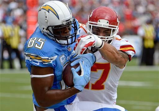 San Diego Chargers tight end Antonio Gates hauls in a touchdown pass as Kansas City Chiefs defensive back Kurt Coleman, right, defends during the first half of an NFL football game Sunday, Oct. 19, 2014, in San Diego. (AP Photo/Denis Poroy)