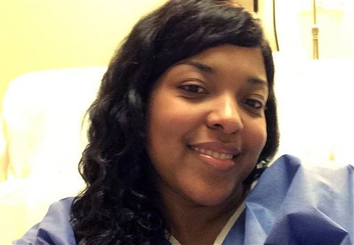 This Oct. 21, 2014, file photo, provided by Amber Vinson, shows Vinson at Emory University Hospital in Atlanta.