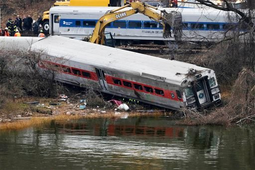 This Dec. 2, 2013, file photo shows a backhoe clearing soil next to a derailed Metro-North train car, foreground, in the Bronx borough of New York.