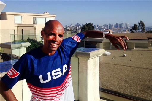 In this Tuesday, Sept. 30, 2014 photo, Meb Keflezighi poses for a photo in San Diego, Calif.