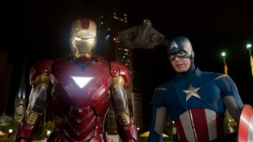 """This film image released by Disney shows, Iron Man, portrayed by Robert Downey Jr., left, and Captain America, portrayed by Chris Evans, in a scene from """"The Avengers."""""""