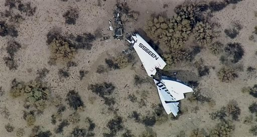 This image from video by KABC-TV Los Angeles shows wreckage of SpaceShipTwo in Southern California's Mojave Desert on Friday, Oct. 31, 2014.