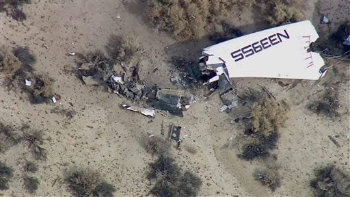 This image from video by KABC TV Los Angeles shows wreckage of what is believed to be SpaceShipTwo in Southern California's Mojave Desert on Friday, Oct. 31, 2014.
