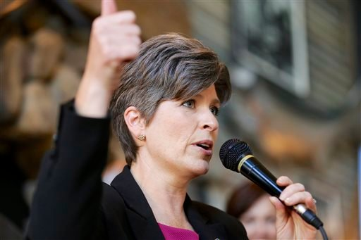 Republican Senate candidate Joni Ernst speaks during a campaign stop in Council Bluffs, Iowa, Friday, Oct. 31, 2014. Ernst is running against Democrat Bruce Braley for the Senate seat of Tom Harkin, who is not seeking reelection. (AP Photo/Nati Harnik)
