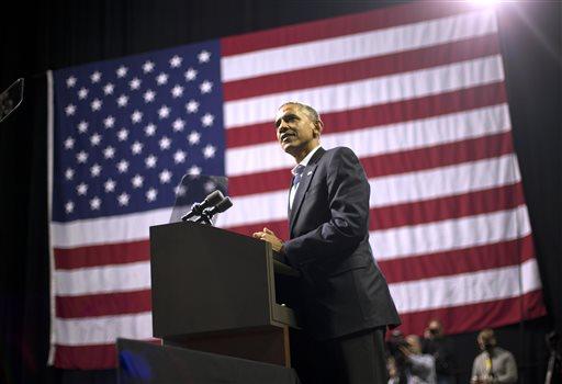 President Barack Obama speaks during a campaign event for gubernatorial candidate Tom Wolf at Temple University in Philadelphia, Pa., Sunday, Nov. 2, 2014. (AP Photo/Pablo Martinez Monsivais)