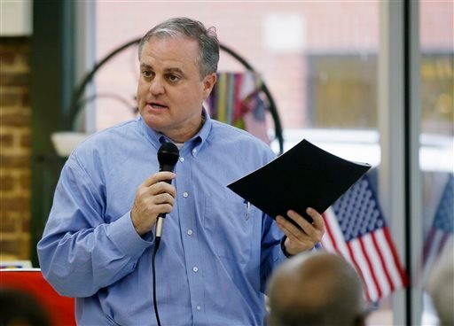 FILE - In this Oct. 28, 2014 file photo, Sen. Mark Pryor, D-Ark. campaigns in an Arkadelphia, Ark. restaurant. (AP Photo/Danny Johnston, File)