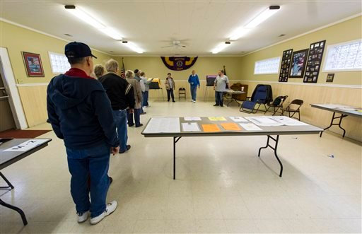Voters wait cast their ballots in the 2014 General Election on Tuesday, Nov. 4, 2014 in Clermont, Ind. (AP)