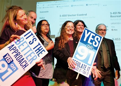 Supporters for the legalization of marijuana celebrate at the Measure 91 party at Holocene night club in Portland, Ore., on Tuesday, Nov. 4, 2014. (AP Photo/The Oregonian, Madeline Stone)