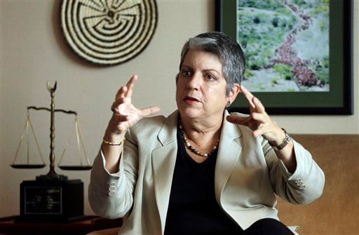 FILE - In this Sept. 30, 2014, file photo, University of California President Janet Napolitano gestures while speaking during an interview in Oakland, Calif. (AP)