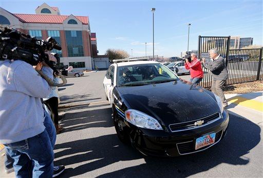 Sandy Police drive suspected kidnapper Troy Morley to the Salt Lake County Jail, Friday, Nov. 7, 2014, in Sandy, Utah. (AP)