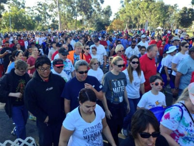 There was a strong showing Saturday morning (Nov. 8, 2014) at the JDRF San Diego Walk to Cure Diabetes. Photo courtesy @dancohenCBS8