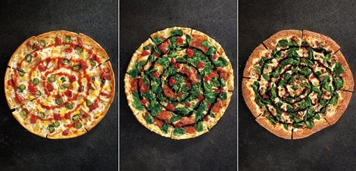 This combination made with product images provided by Pizza Hut shows the restaurant chain's new specialty pizzas, from left, Sweet Sriracha Dynamite, Cherry Pepper Bombshell, and Pretzel Piggy. (AP Photo/Pizza Hut)