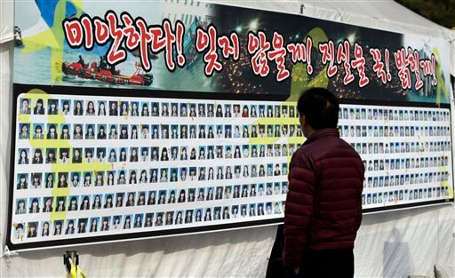 A man looks at portraits of victims aboard the sunken ferry Sewol in the water off the southern coast, in Seoul, South Korea, Tuesday, Nov. 11, 2014.